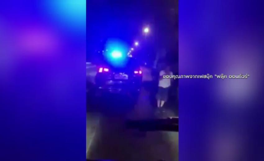 ตร.ตรวจสอบรถเปิดไฟฉุกเฉินบนถนน จ.สิงห์บุรี