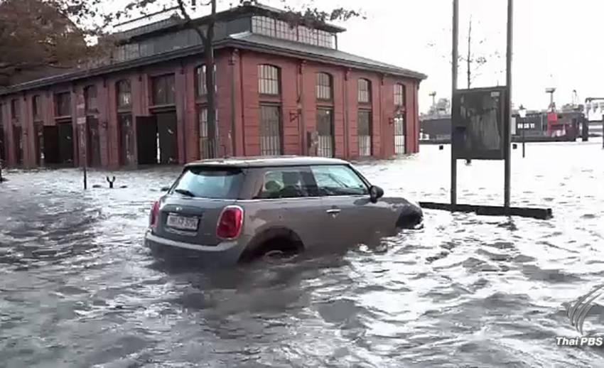 พายุเฮอร์วาร์ตพัดถล่มยุโรป น้ำท่วมเสียหายหลายพื้นที่