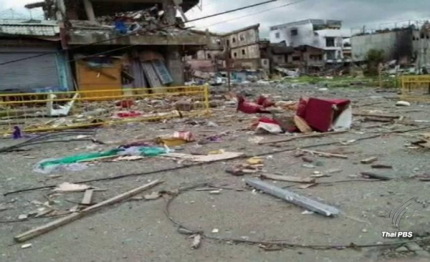 """เผยภาพความเสียหาย """"เมืองมาราวี"""" หลังกลุ่มติดอาวุธมาอูตียึดครอง"""