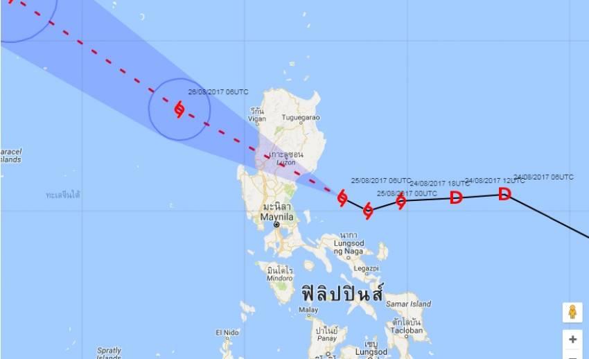 """กรมอุตุฯ ประกาศ พายุโซนร้อน """"ปาข่า"""" คาดเลื่อนผ่านประเทศฟิลิปปินส์ ยังไม่กระทบไทย"""