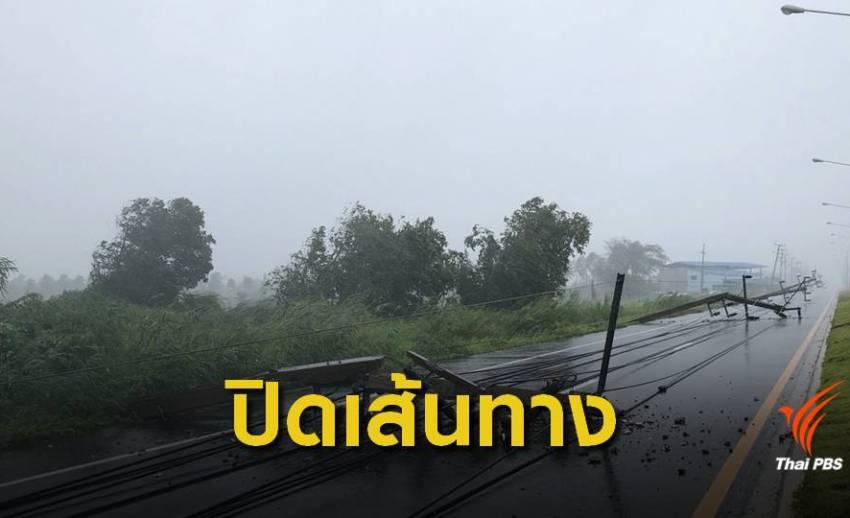 """บขส.งดเดินรถ """"นครศรีฯ-กทม."""" เหตุ """"น้ำท่วม-เสาไฟล้ม"""" ขวางถนน"""