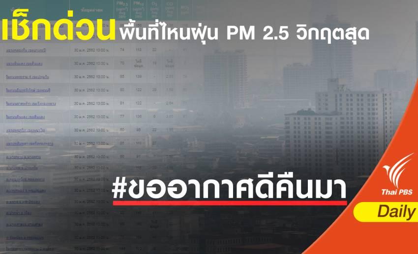 ฝุ่น PM 2.5 : เช็กด่วนพื้นที่ไหนวิกฤตสุด