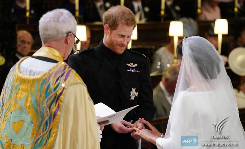 """""""เจ้าชายแฮร์รี่ - มาร์เคิล"""" เข้าพิธีเสกสมรส ณ พระราชวังวินด์เซอร์"""