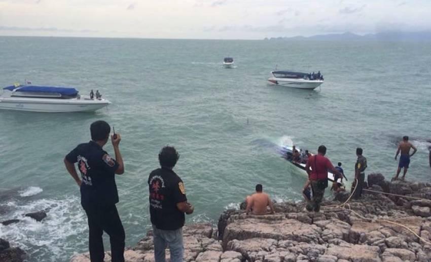 เรือสปีดโบทล่มบริเวณแหลมกากีใกล้เกาะสมุย จ.สุราษฎร์ธานี เสียชีวิต 2 คน