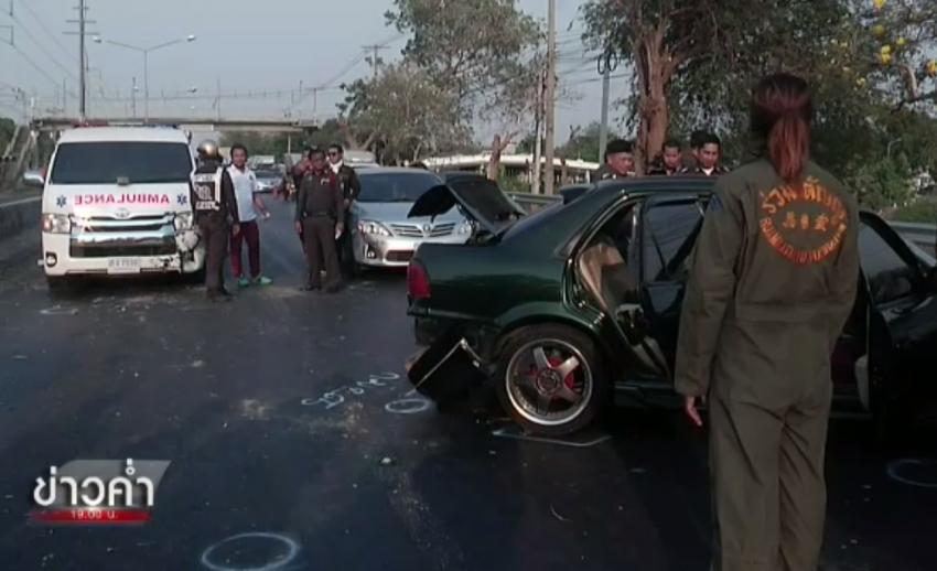 ตำรวจปิดล้อมติดตามผู้ต้องหายิงตำรวจบาดเจ็บบริเวณถนนรังสิต-นครนายก คลอง 5