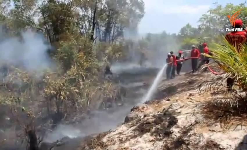 จนท.เร่งสกัดเพลิงไหม้ป่าพรุ จ.พังงา ไม่ให้ลามเข้าชุมชน
