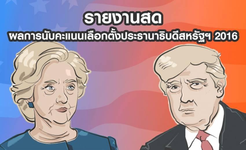 รายงานสด: ผลการนับคะแนนเลือกตั้งประธานาธิบดีสหรัฐฯ 2016