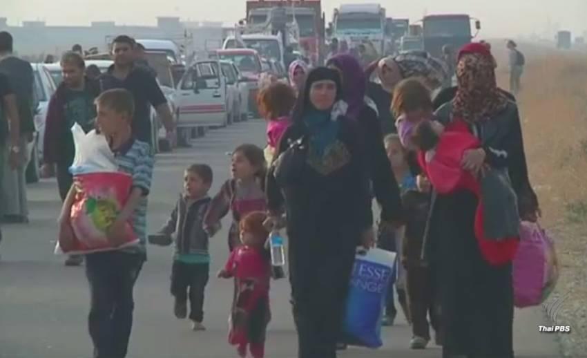 """ชาวเมืองโมซูลหนีภัยการสู้รบ """"ไอเอส-อิรัก"""" คาดแนวโน้มยืดเยื้อ"""