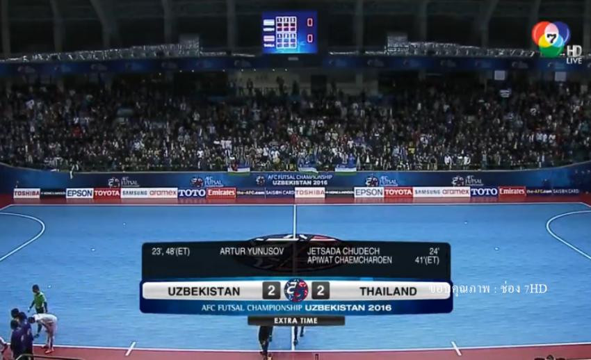 ทีมชาติไทย แพ้ อุซเบกิสถาน 3-5 ชวดเข้าชิงชนะเลิศ ฟุตซอลชิงแชมป์เอเชีย 2016