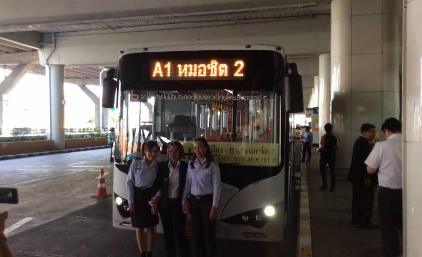 """ขสมก.เปิดทดลองใช้รถเมล์ไฟฟ้าเส้นทาง """"สนามบินดอนเมือง-หมอชิต 2"""""""