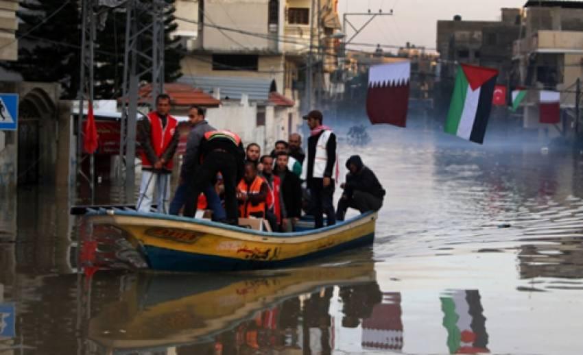 เกิดน้ำท่วมรุนแรงในเขตฉนวนกาซ่าของชาวปาเลสไตน์