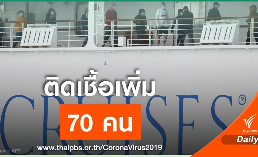 ญี่ปุ่น พบผู้ติดเชื้อ COVID-19 บนเรือสำราญเพิ่ม 70 คน