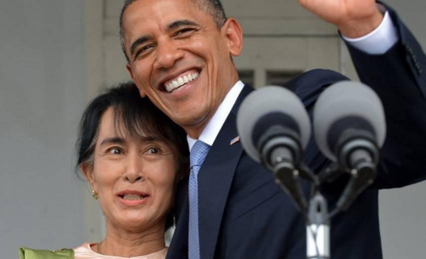 """""""โอบามา"""" พบ อองซาน ซูจี  เตือนนานาชาติ อย่าเพิ่งวางใจกับการปฏิรูปการเมืองของพม่าที่รุดหน้า"""