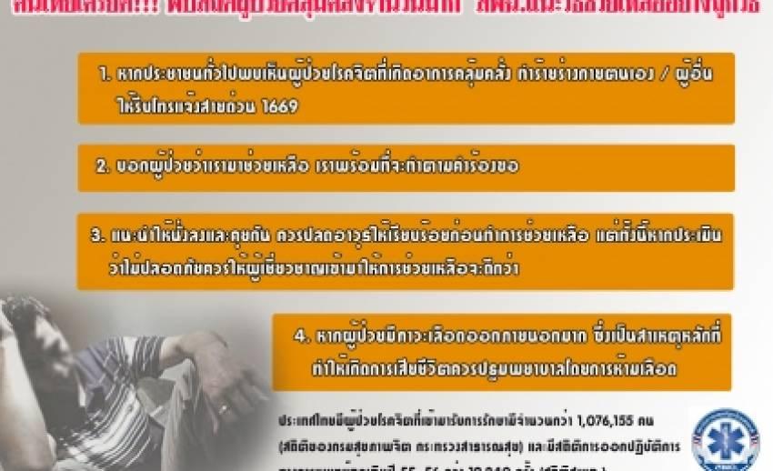 คนไทยเครียด..พบสถิติผู้ป่วยคลุ้มคลั่งจำนวนมาก เผยปี 255-2556 ช่วยมาแล้วกว่า 19,240 ครั้ง