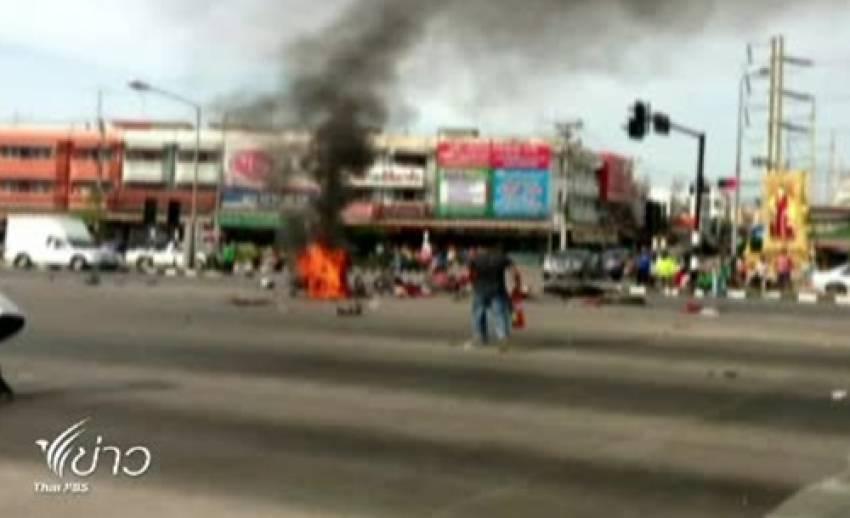 รถปูนฝ่าไฟแดงชนจักรยานยนต์ 5 คัน เสียชีวิต 4 คน