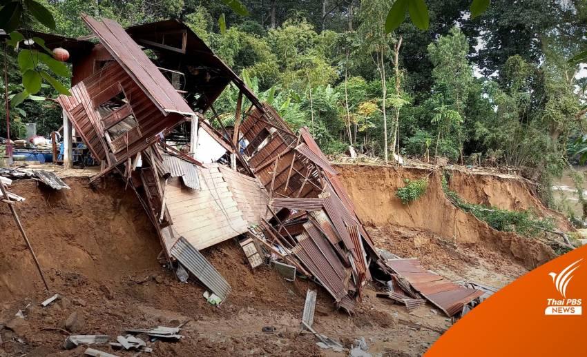 ดินสไลด์ตลิ่งแม่น้ำป่าสัก จ.สระบุรี บ้านทรุด-ต้นยางนา 100 ปีล้ม