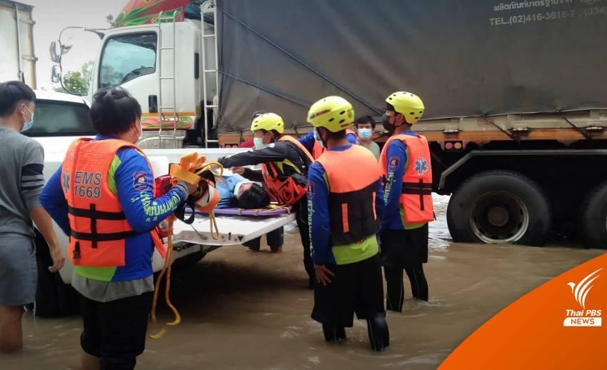 น้ำท่วมเพชรบูรณ์ บขส.หยุดเดินรถชั่วคราว-ช่วยหญิงใกล้คลอด