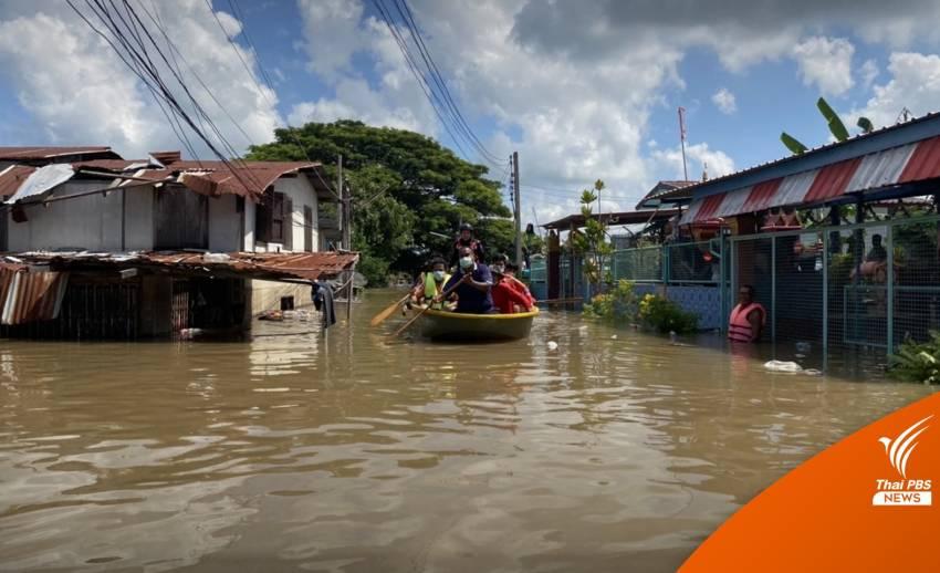 คันดินพังน้ำทะลักเข้าชุมชน-ที่ว่าการอำเภอ-สภ.อินทร์บุรี