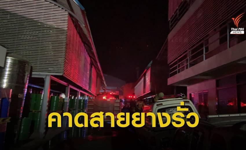 """คุมเพลิงแล้ว """"โรงงานน้ำมันหล่อลื่น"""" เพชรบุรี พนักงานเจ็บ 2 คน"""
