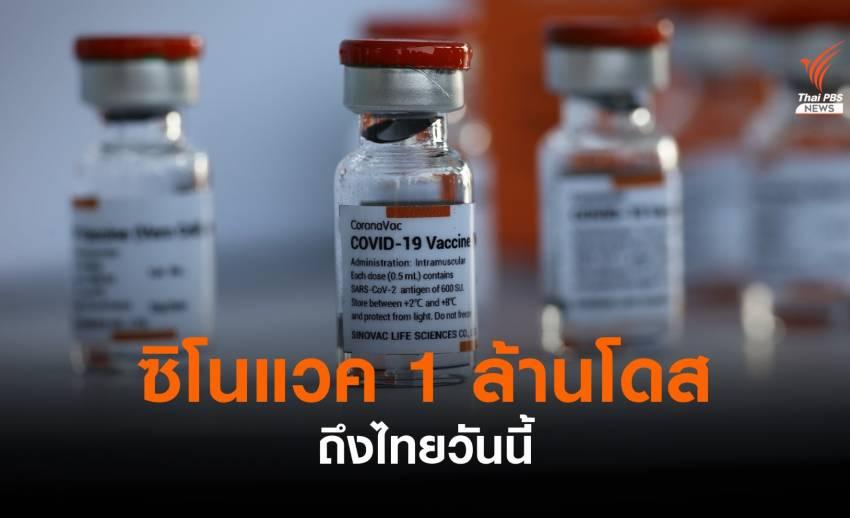 ซิโนแวค 1 ล้านโดสถึงไทยวันนี้ เร่งส่งตรวจคุณภาพก่อนกระจายทั่ว ปท.