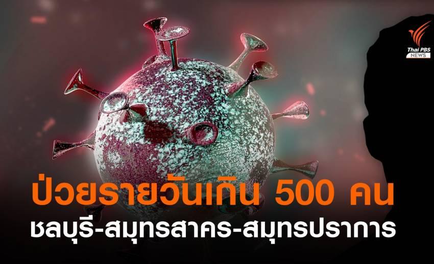 """ป่วยโควิดรายวันเกิน 500 คน """"ชลบุรี-สมุทรสาคร-สมุทรปราการ"""""""