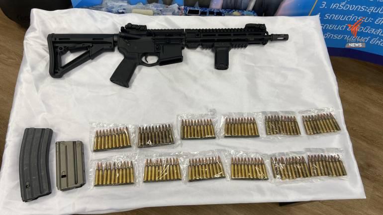 ปืนขนาด 5.56 มม.ที่ยึดได้จากผู้ต้องหาคดียาเสพติด