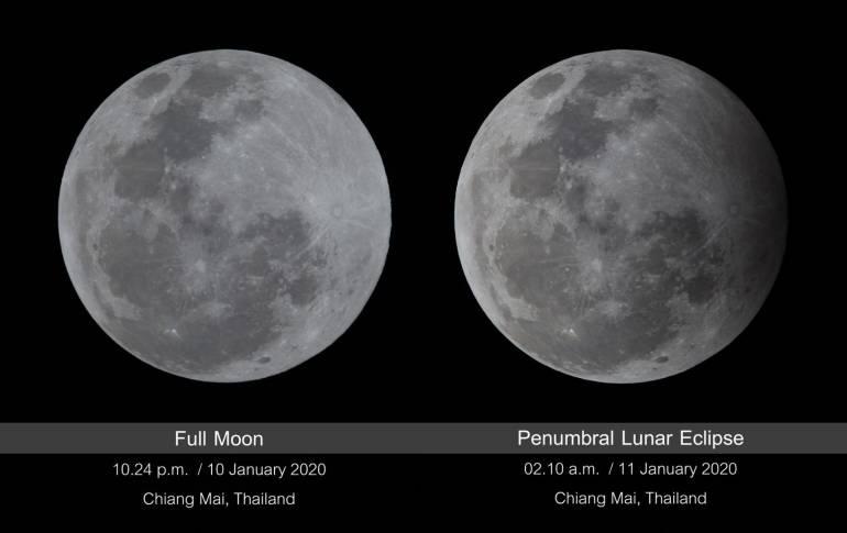 ภาพเปรียบเทียบดวงจันทร์เต็มดวงก่อนเกิดปรากฏกาณณ์ กับช่วงที่ดวงจันทร์ถูกบังมากที่สุด ในวันที่ 11 มกราคม 2563