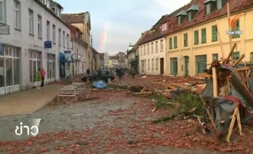 """ทอร์นาโดพัดถล่มเมือง""""บูเอ็ตโซ""""ในเยอรมนี -เสียหายหนัก"""