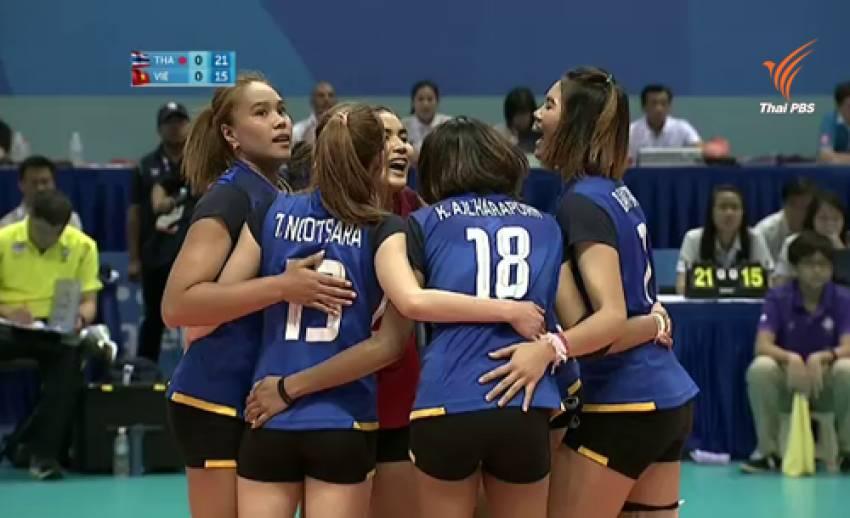 วอลเลย์บอลสาวไทย ซิวเหรียญทองซีเกมส์ สมัยที่ 12 ชนะเวียดนาม 3 เซตรวด