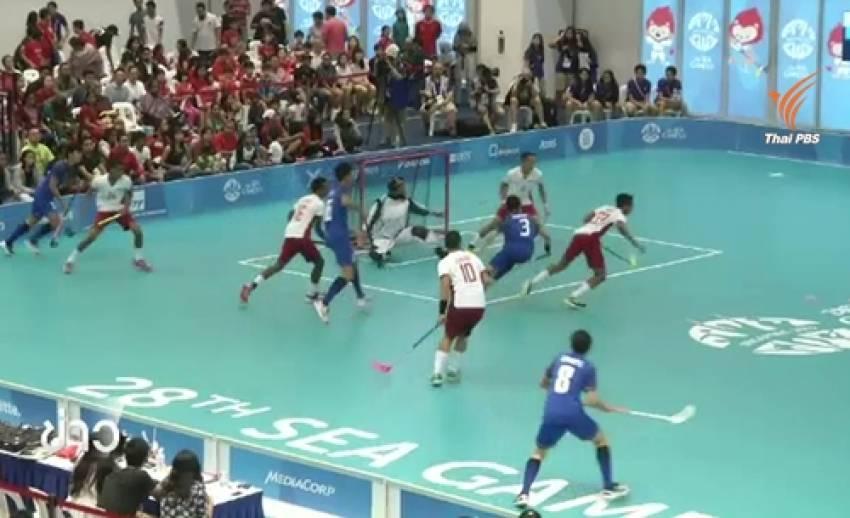 ฟลอร์บอลไทยใช้เเท็คติกสุดเเนว ประเดิมผลงานในซีเกมส์
